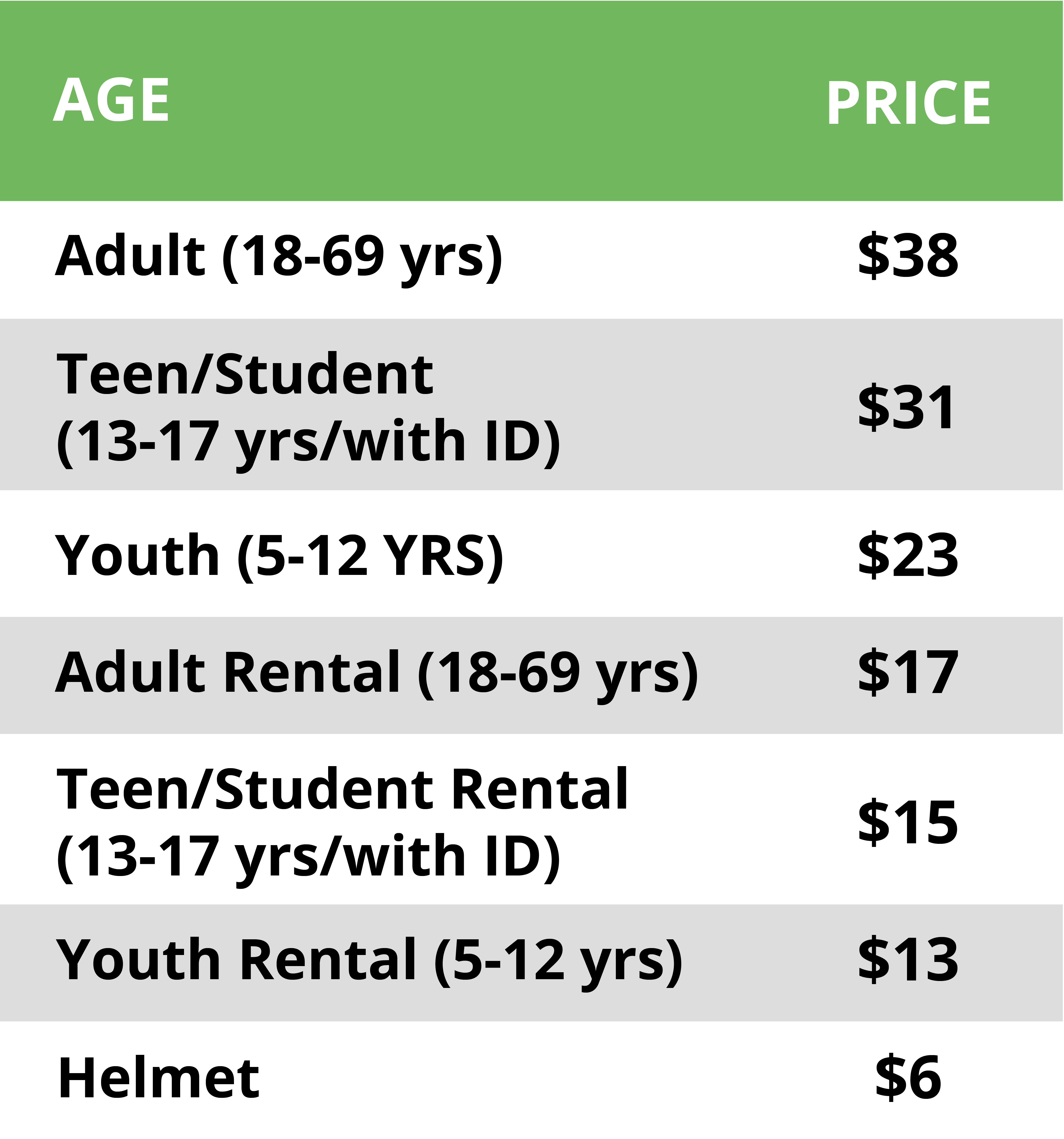 Homeschool Pricing Table
