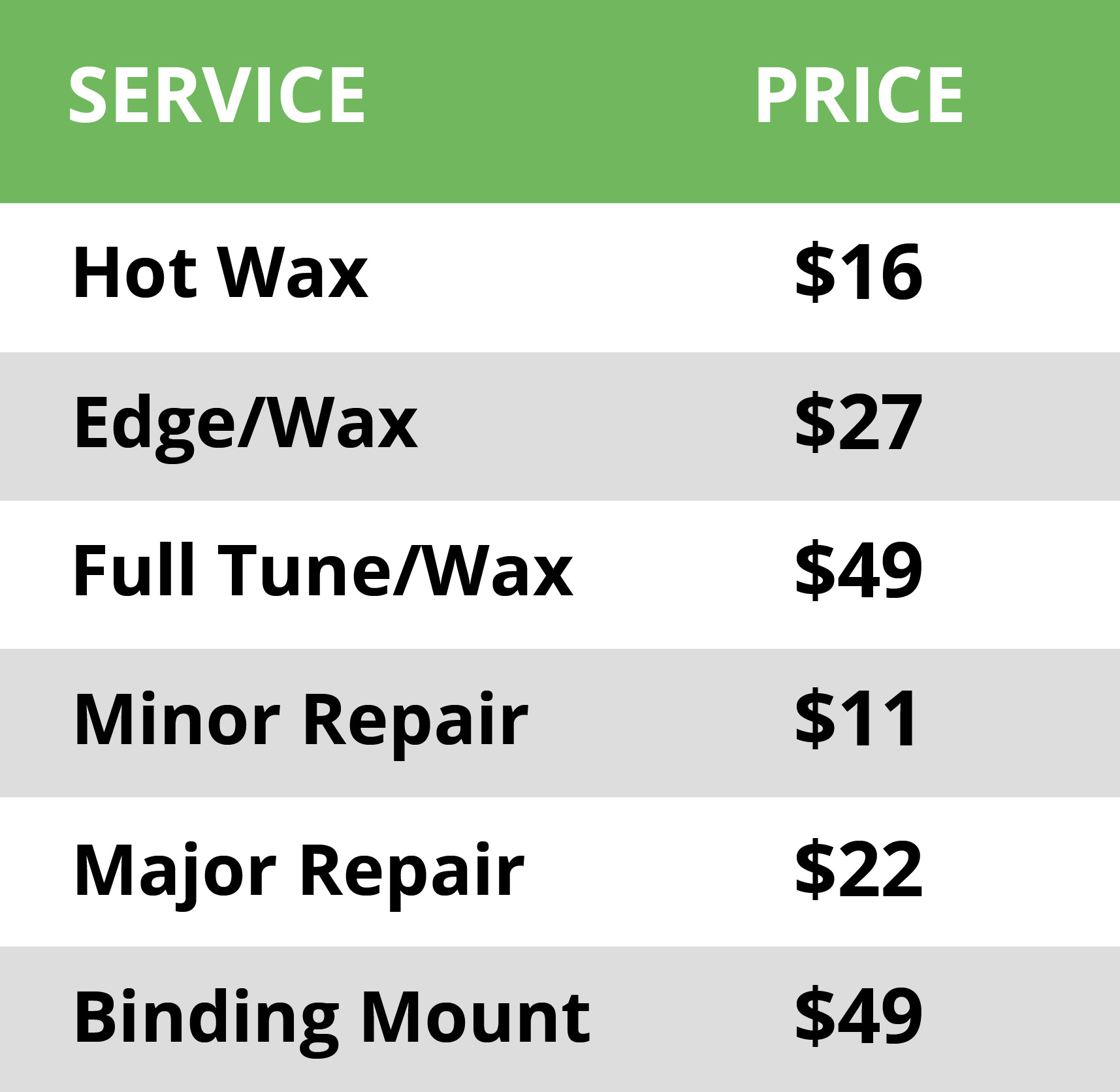 Tuning Services Pricing Table