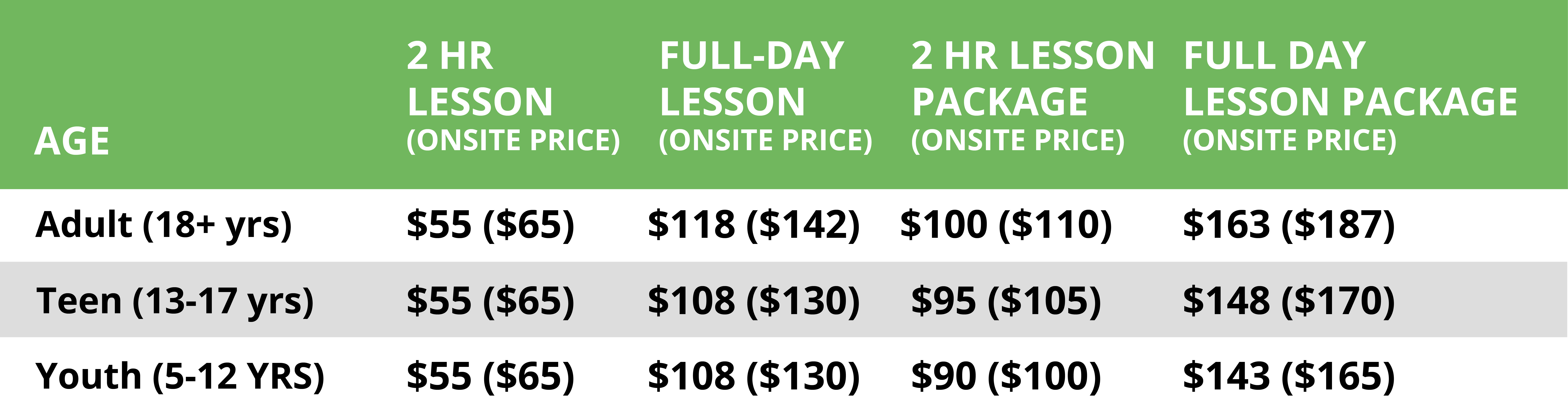 2019/2020 Group Lesson Pricing